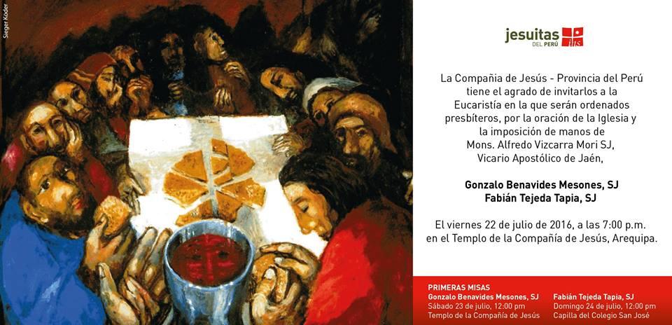 Ordenación Sacerdotal de Fabián Tejeda SJ y Gonzalo Benavides SJ